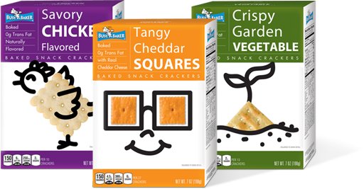 Busy baker savory chicken flavored, tangy cheddar squares and crispy garden vegetable cracker boxes