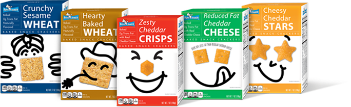 crunchy sesame wheat, hearty baked wheat, zesty cheddar crisps, reduced fat cheddar cheese & cheesy cheddar stars Busy Baker Cracker Boxes