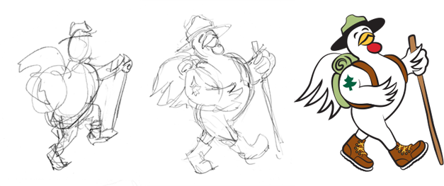 Progression of the Ranger character chicken, from hand drawn sketch to fully rendered color artwork.